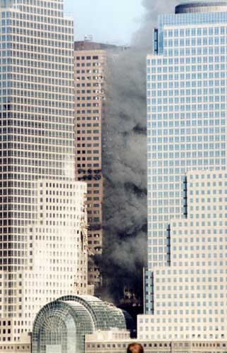 south side of WTC 7 engulfed in flames